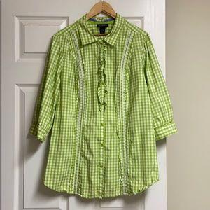 Lane Bryant Green Button-up Shirt